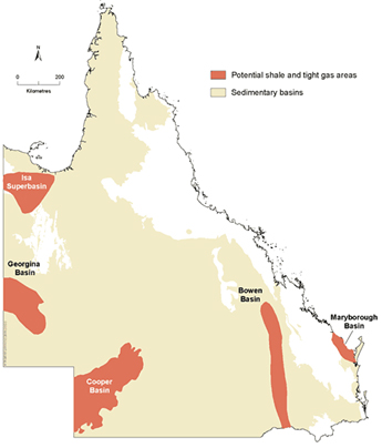 the presence of deep gas or oil in QLD